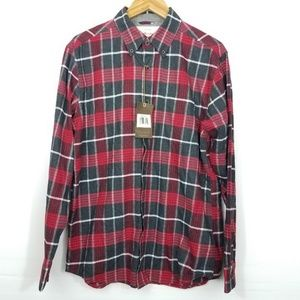 Weatherproof Red Black Plaid Flannel Button Shirt